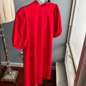Zara bright red dress size small a-line puff slv